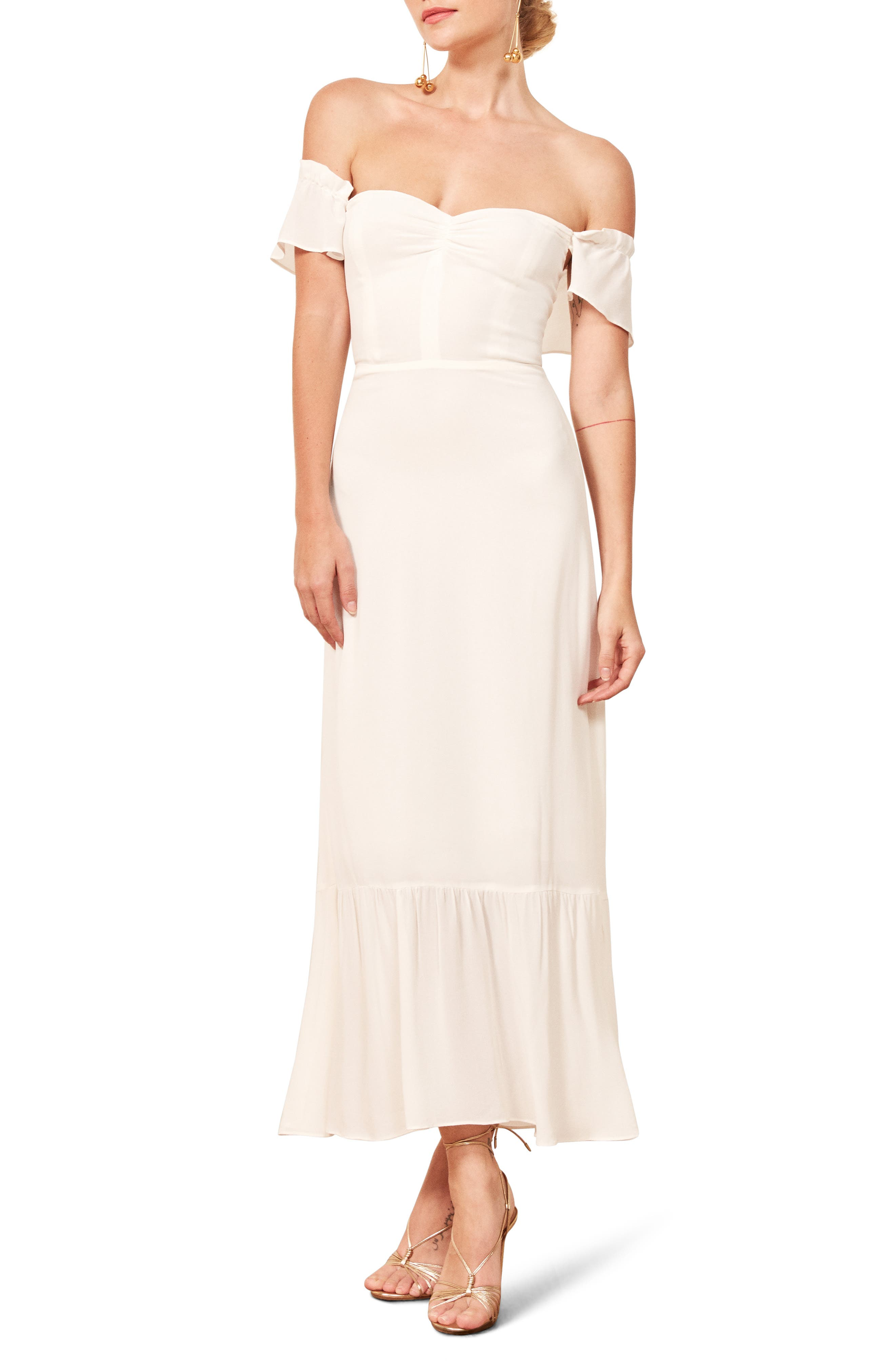 Reformation Butterfly Midi Dress, White