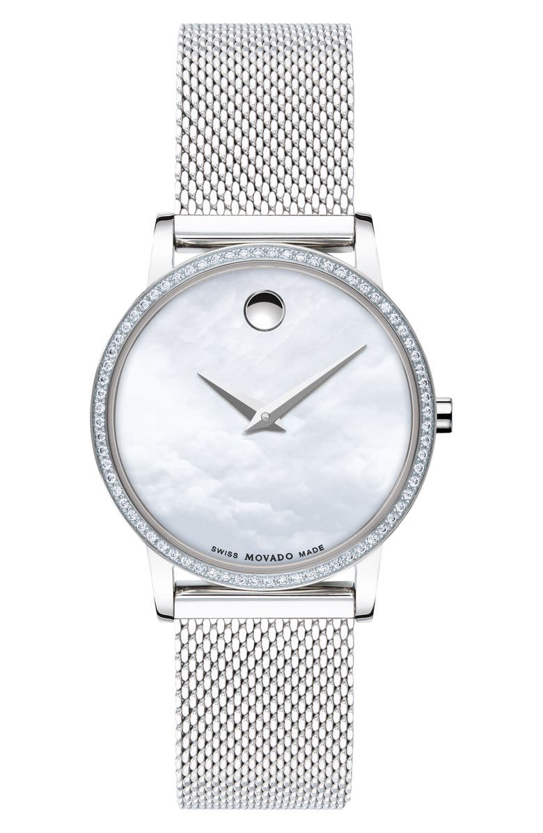 MOVADO Museum Classic Diamond Bracelet Watch, 28mm, Main, color, SILVER/ WHITE MOP/ SILVER