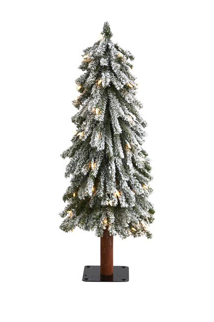 Image of NEARLY NATURAL 3ft. Flocked Grand Alpine Artificial Christmas Tree with 50 Clear Lights on Natural Trunk