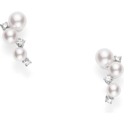 Mikimoto Pearl & Diamond Cluster Earrings