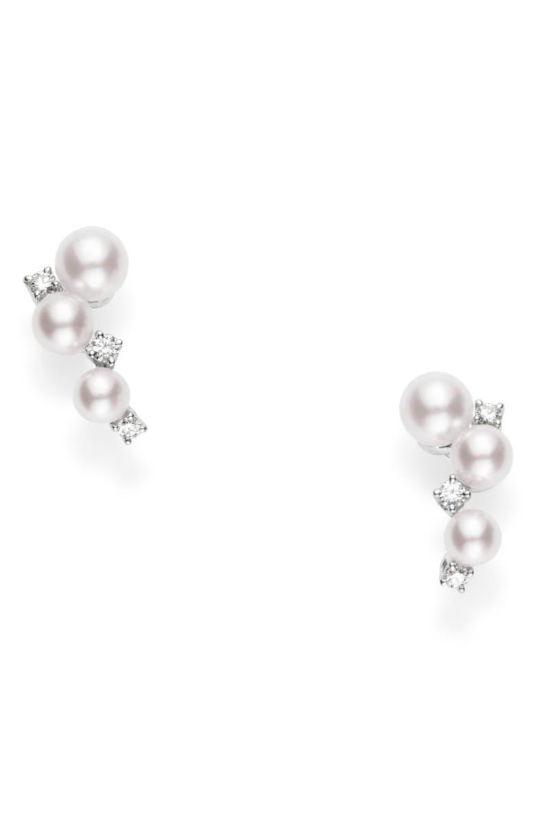 MIKIMOTO Pearl & Diamond Cluster Earrings, Main, color, WHITE GOLD