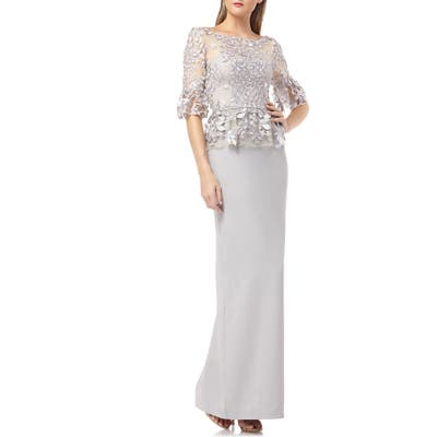 Js Collections Embroidered Mock Two-Piece Gown