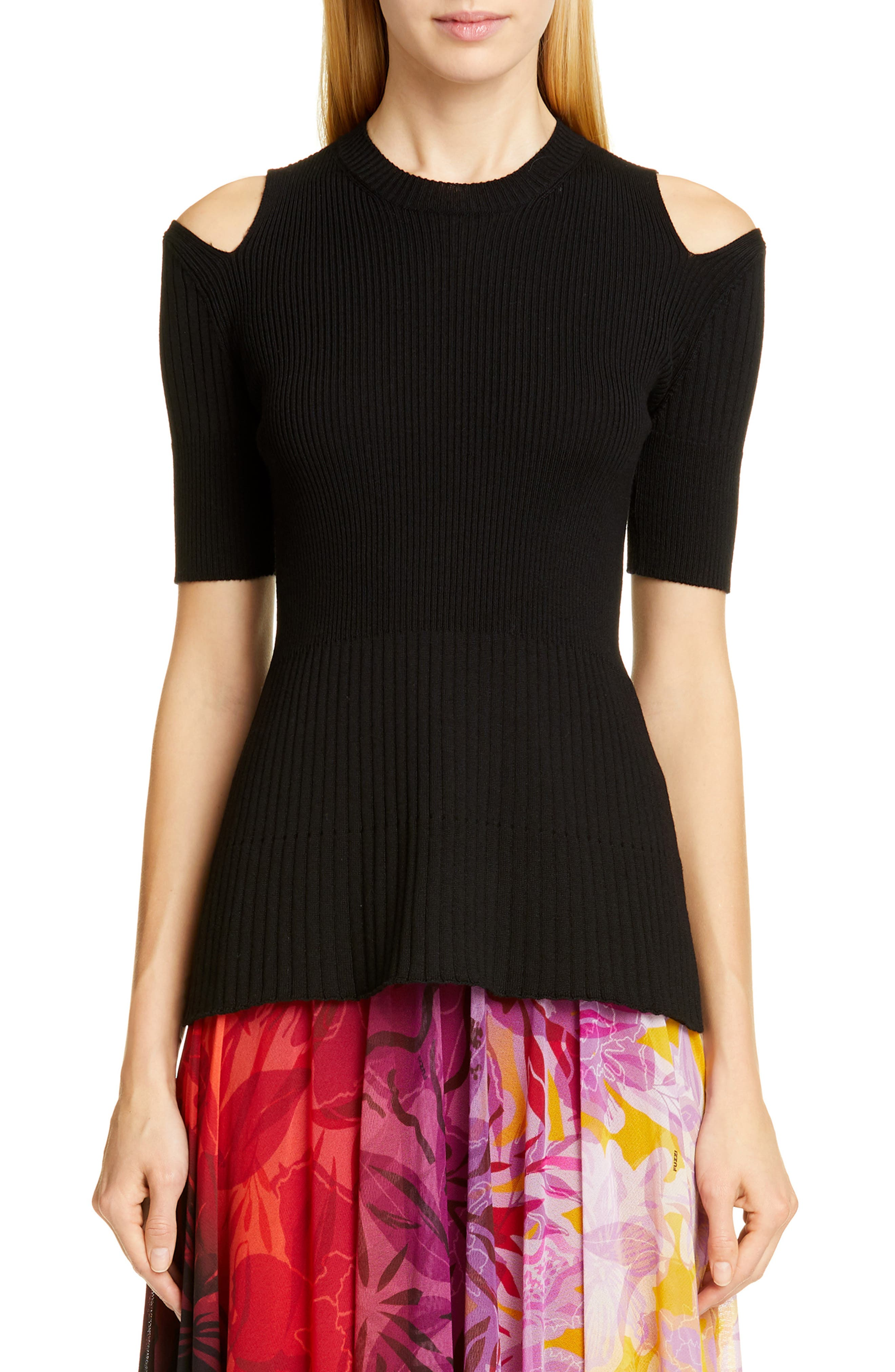Fuzzi Cold Shoulder Ribbed Wool Sweater, Black