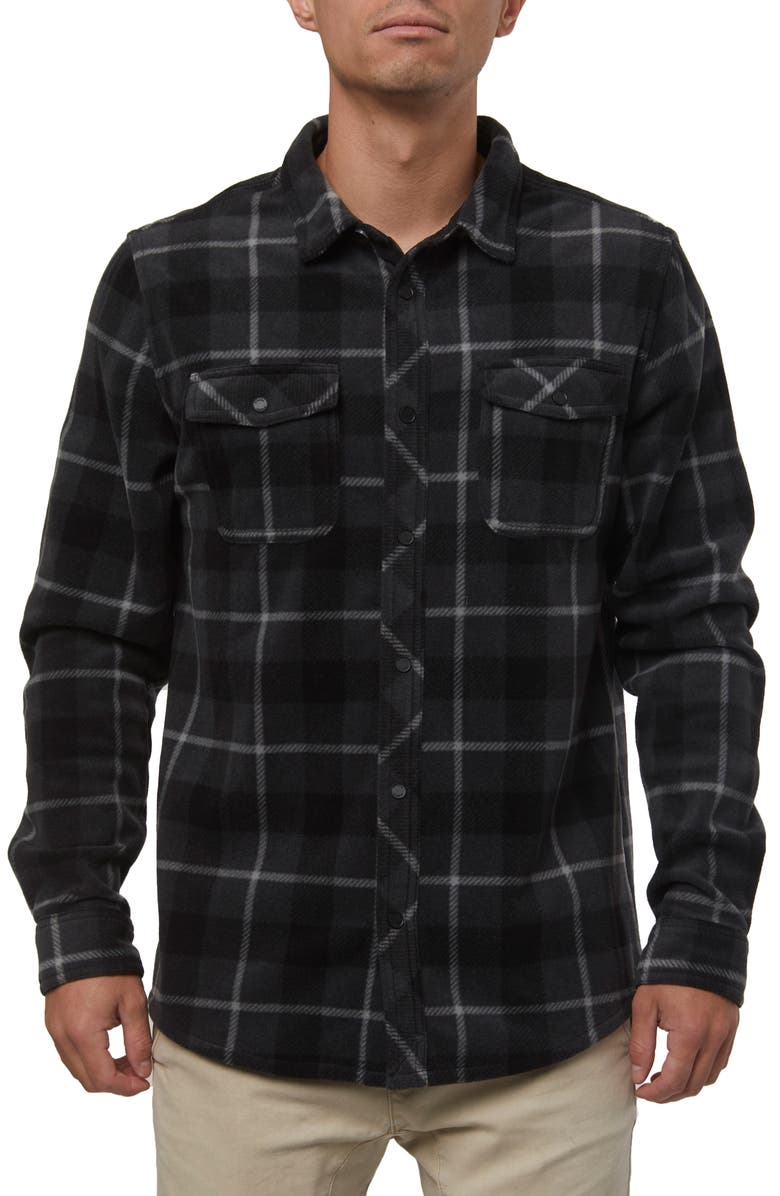 O'NEILL Glacier Plaid Snap-Up Fleece Shirt, Main, color, ASPHALT