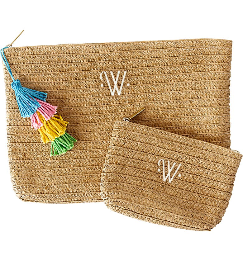 CATHY'S CONCEPTS Set of 2 Monogram Straw Pouches, Main, color, 200