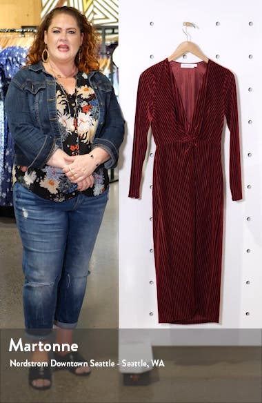 Knot Long Sleeve Velvet Rib Midi Dress, sales video thumbnail