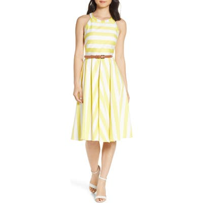 Petite Eliza J Halter Fit & Flare Dress, Yellow
