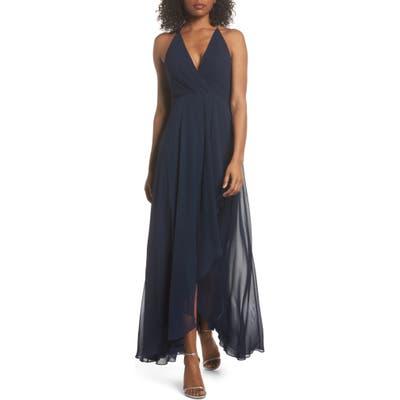 Jenny Yoo Farrah Ruffle Chiffon Gown, Blue