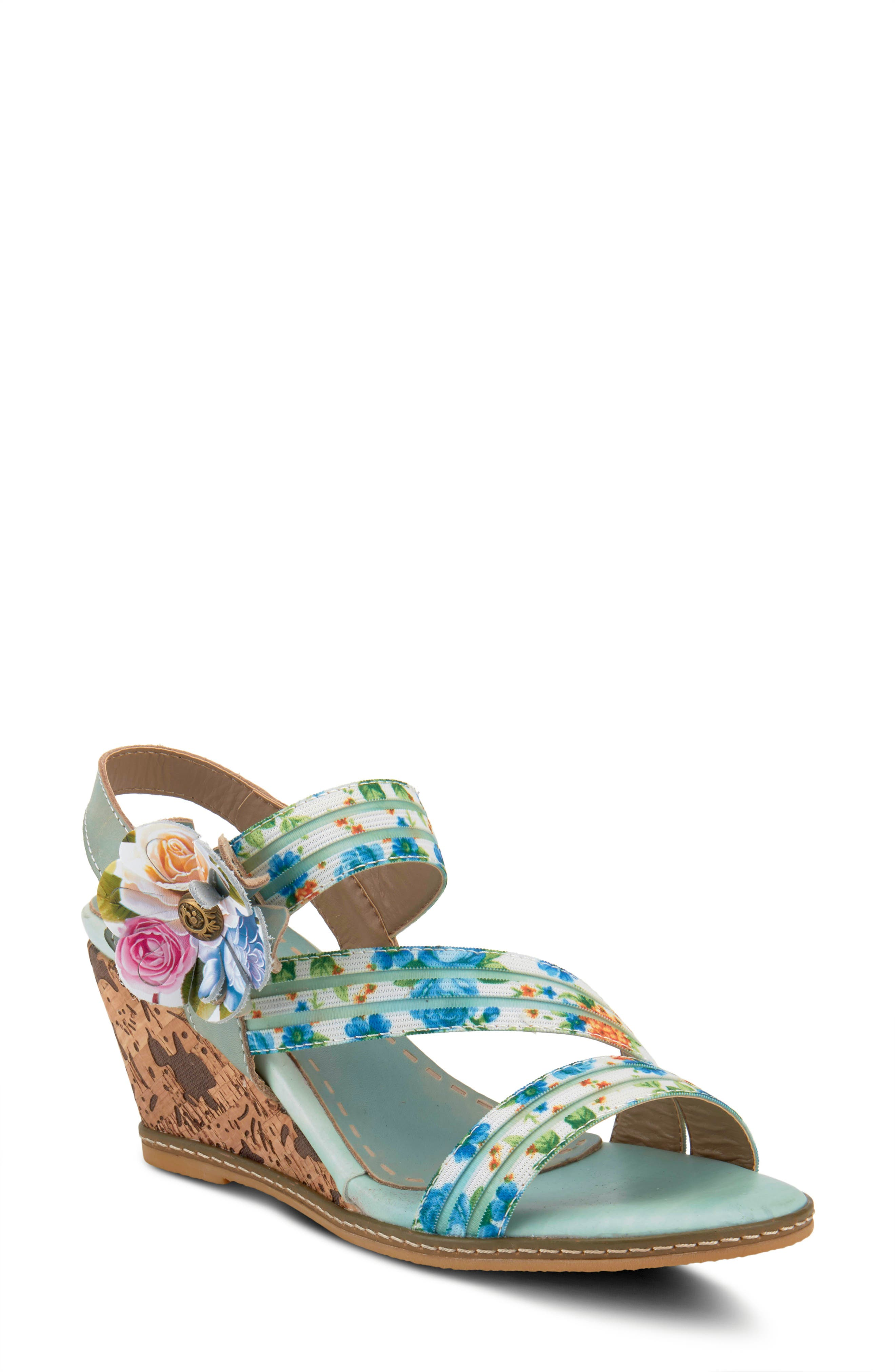An oversized blossom and lively floral print bring vibrant color to a strappy wedge sandal furnished with a cushy footbed. Style Name:L\\\'Artiste Landy Wedge Sandal (Women). Style Number: 5980132 1. Available in stores.