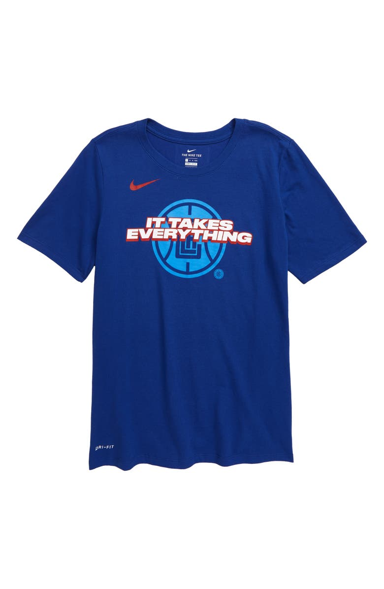 NIKE NBA Los Angeles Clippers Mantra Dri-FIT Graphic T-Shirt, Main, color, RUSH BLUE