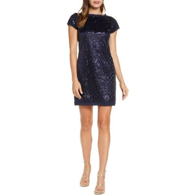 Eliza J Abstract Checkerboard Sequin Minidress, Blue
