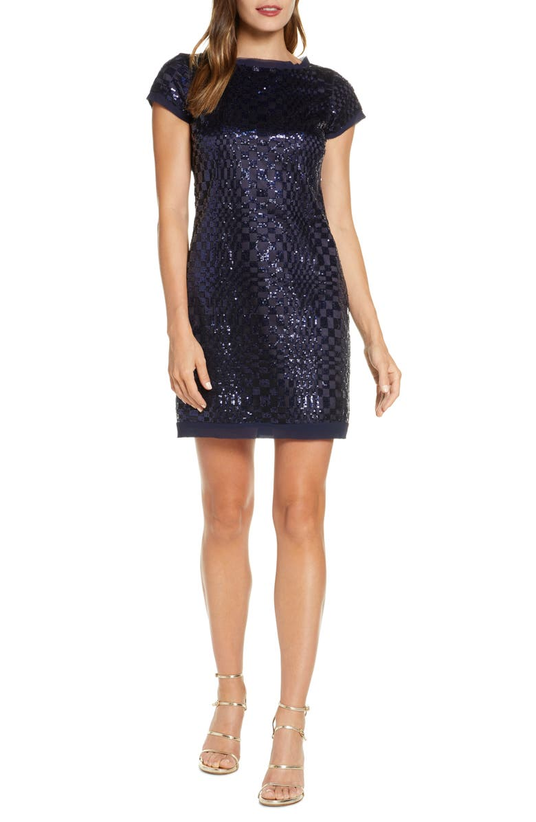 ELIZA J Abstract Checkerboard Sequin Minidress, Main, color, NAVY