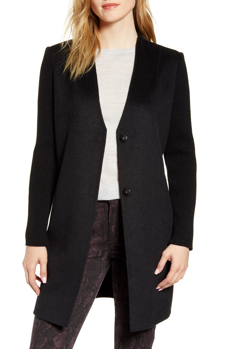 KENNETH COLE NEW YORK Knit Sleeve Double Face Wool Blend Coat, Main, color, BLACK