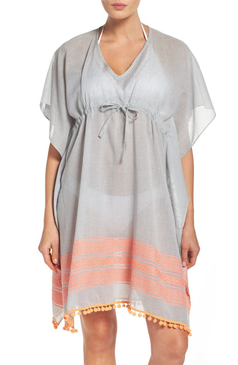 ECHO Pom Cover-Up Caftan, Main, color, 100