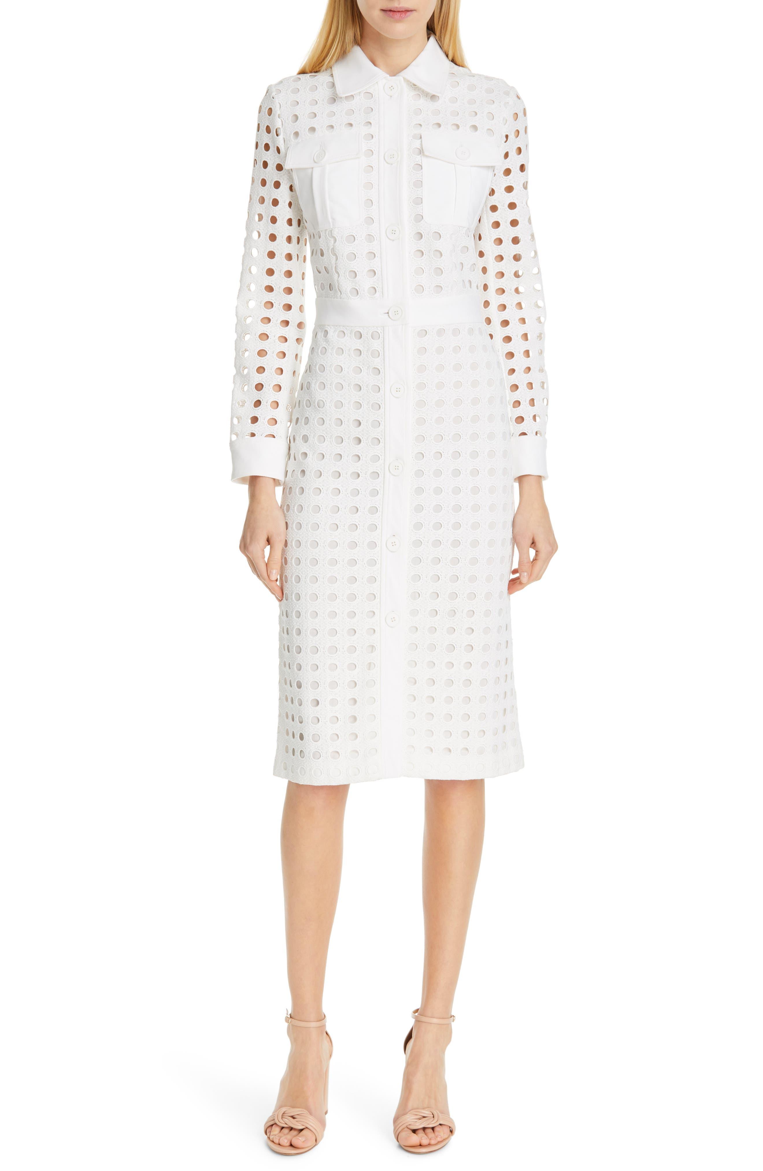 Judith & Charles Tiento Long Sleeve Midi Dress, Ivory