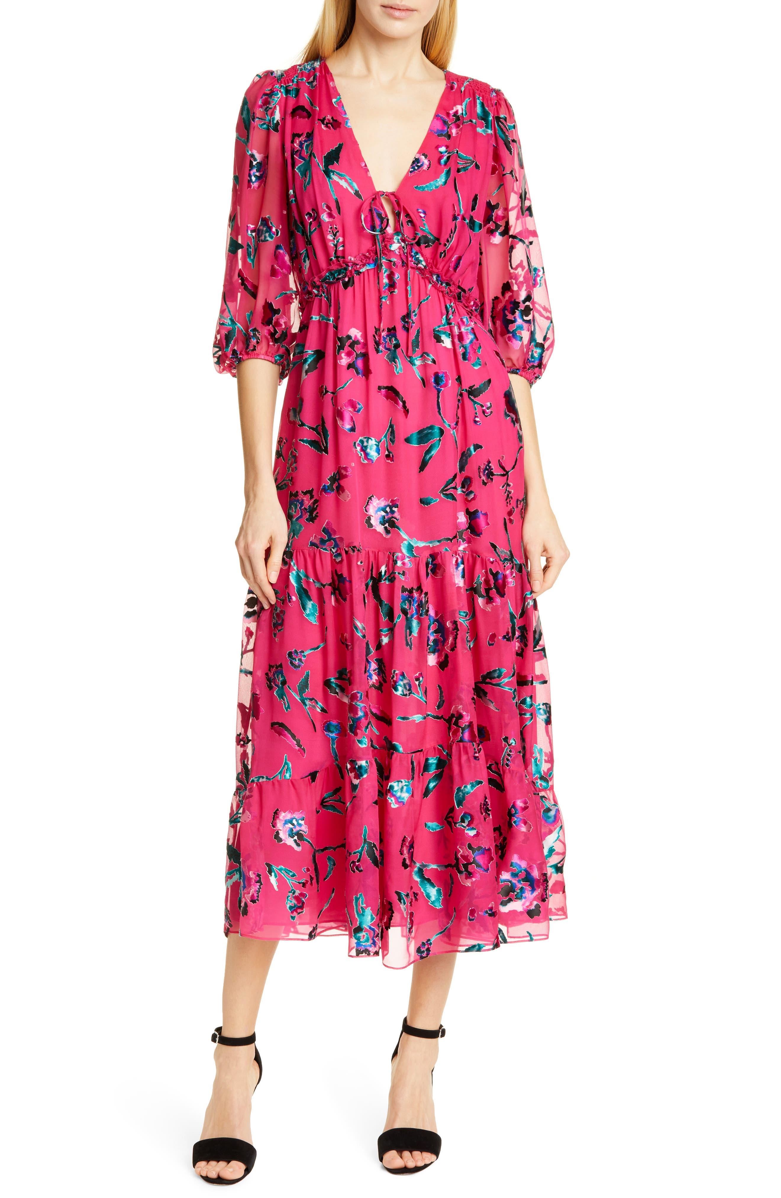 Tanya Taylor Dulce Silk Blend Midi Dress, Pink