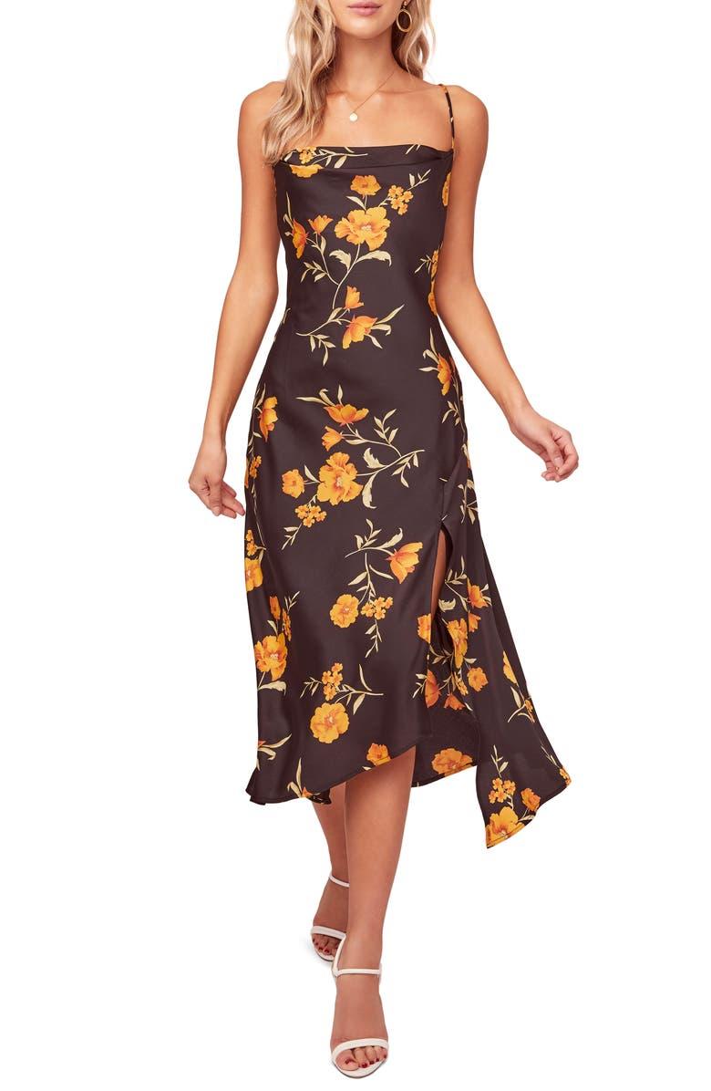 ASTR THE LABEL Gaia Strappy Bias Cut Satin Midi Dress, Main, color, 010