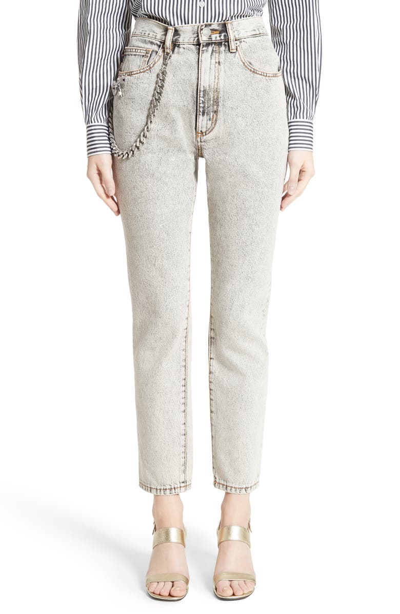 MARC JACOBS Overdyed Bleach Stovepipe Jeans, Main, color, 020