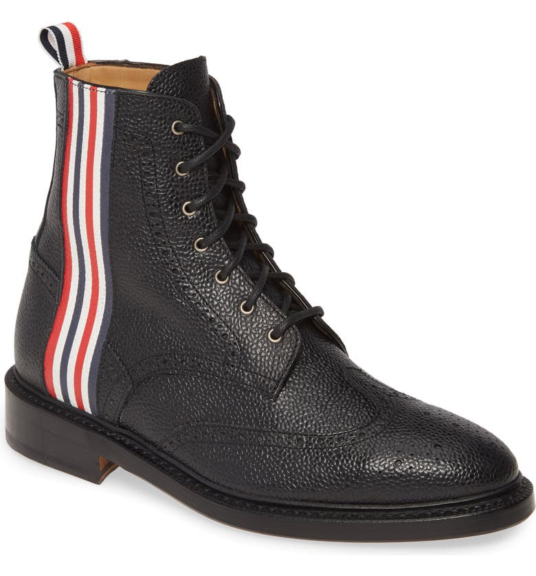 THOM BROWNE Wingtip Boot, Main, color, BLACK