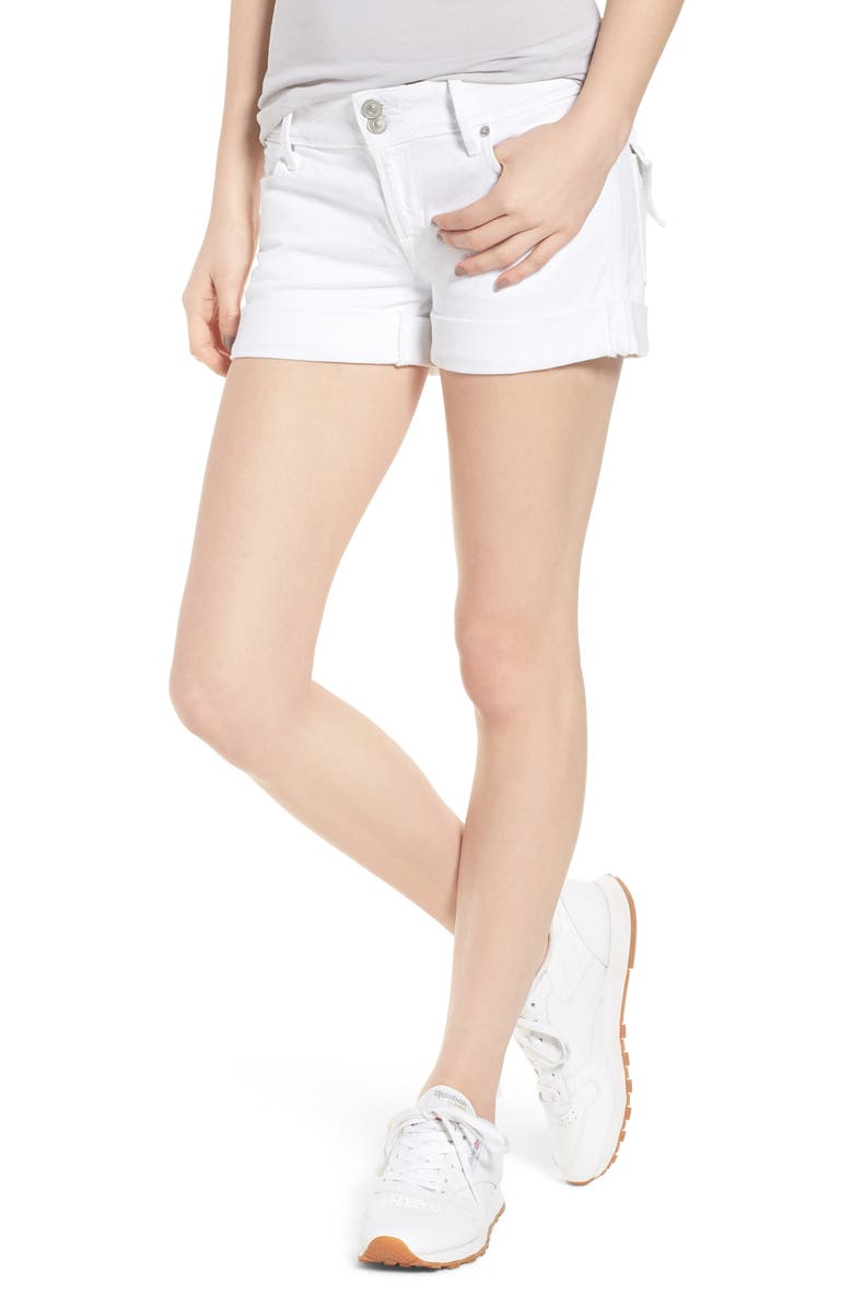 HUDSON JEANS Croxley Cuff Denim Shorts, Main, color, WHITE