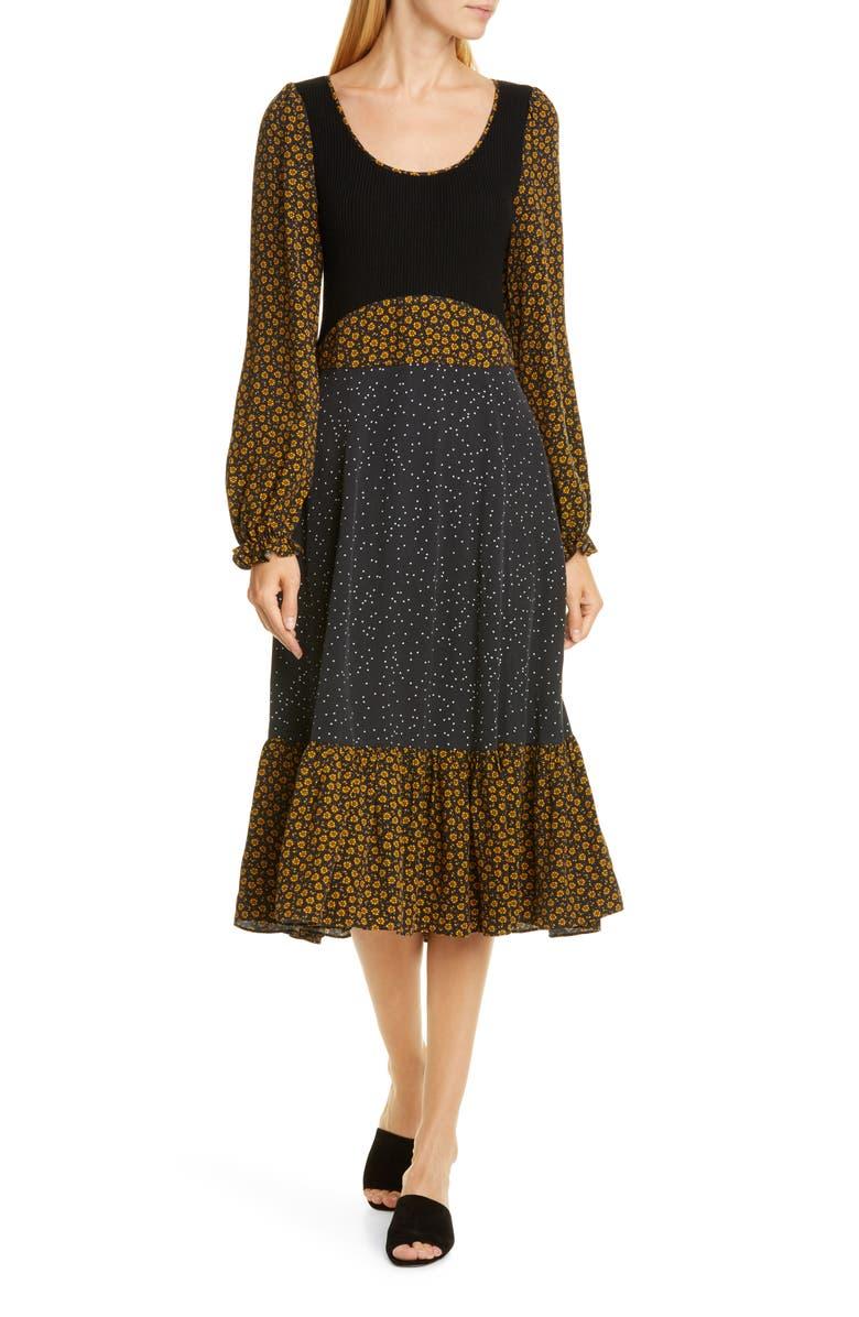 OPENING CEREMONY Mixed Media Long Sleeve Midi Dress, Main, color, 700