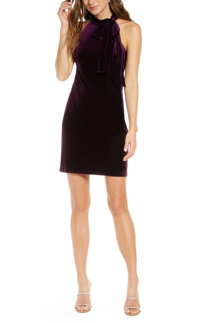 Image of Vince Camuto Halter Tie Neck A-Line Dress