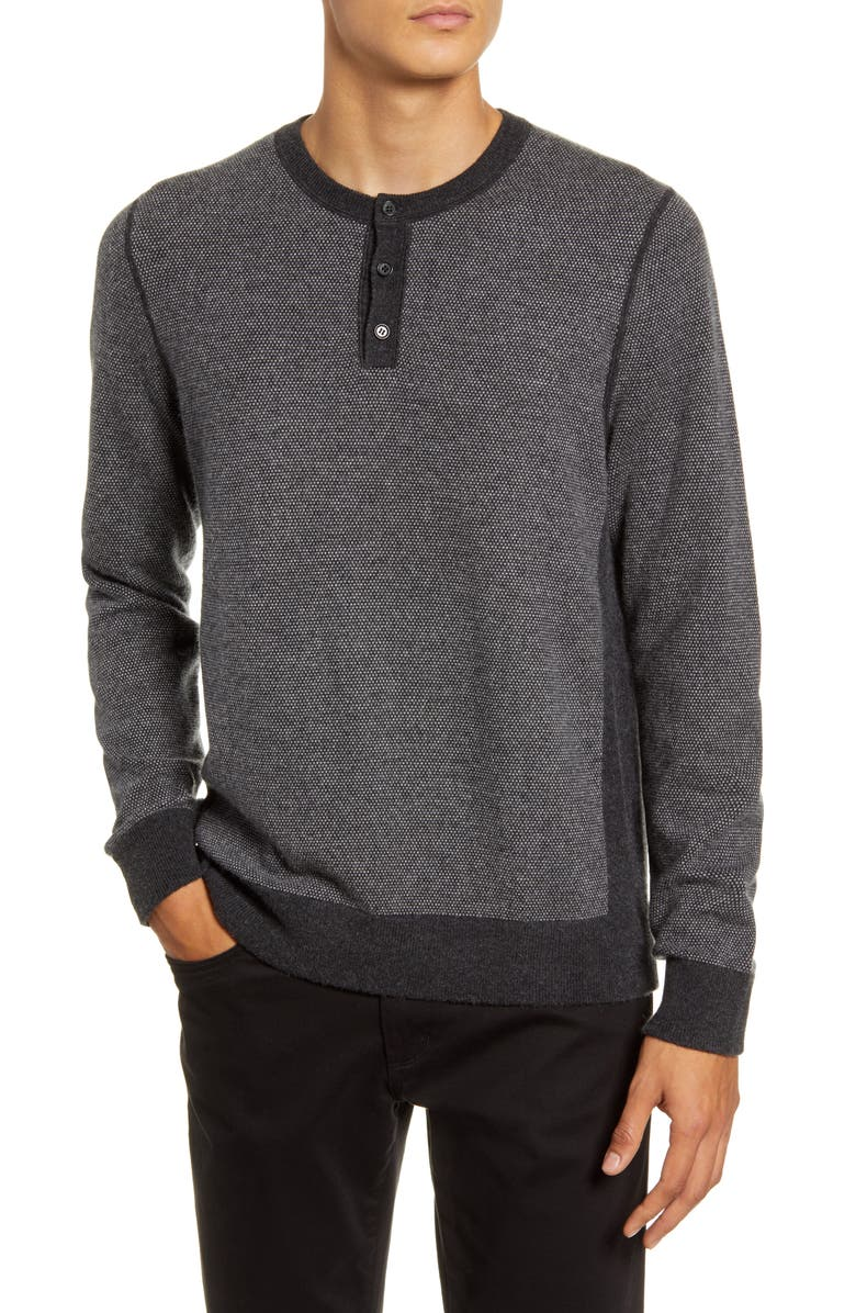 VINCE Slim Fit Bird's Eye Henley Wool & Cashmere Sweater, Main, color, 010