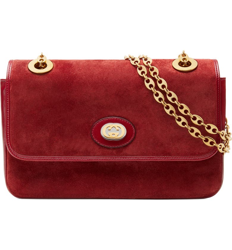 GUCCI Small Marina Suede Shoulder Bag, Main, color, NEW CHERRY RED