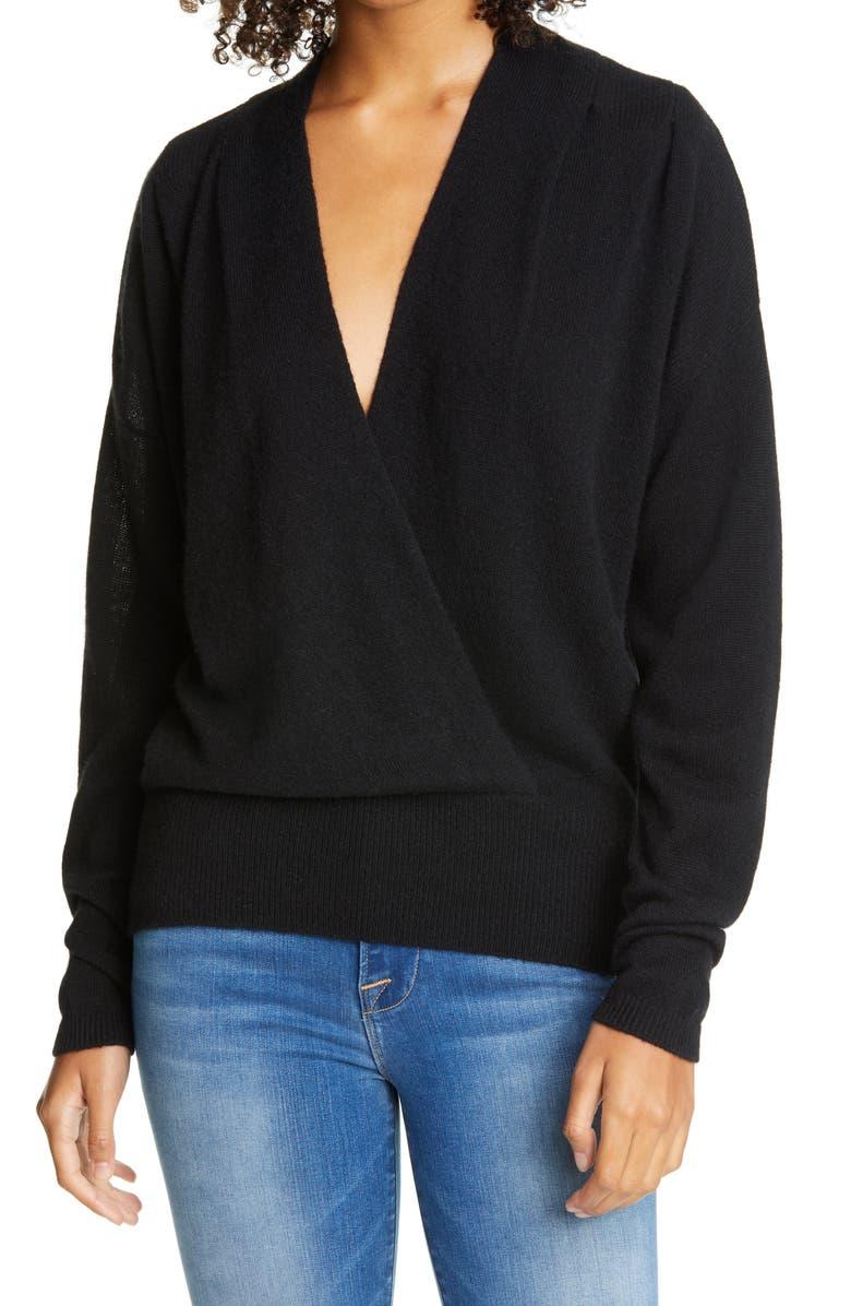 FRAME Surplice Wool & Cashmere Sweater, Main, color, NOIR