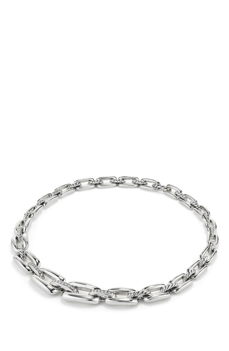 DAVID YURMAN Wellesley Short Chain Necklace with Diamonds, Main, color, SILVER
