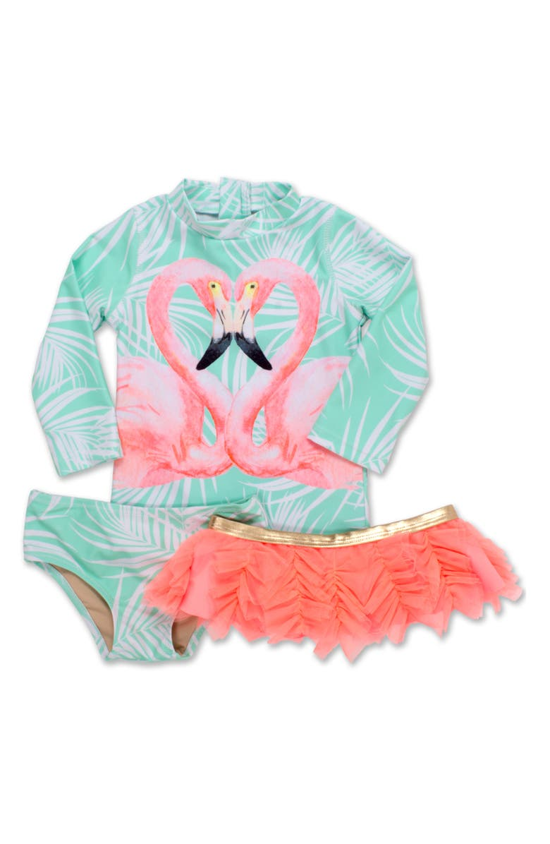 SHADE CRITTERS Flamingos Two-Piece Rashguard Swimsuit with Tutu, Main, color, MULTI