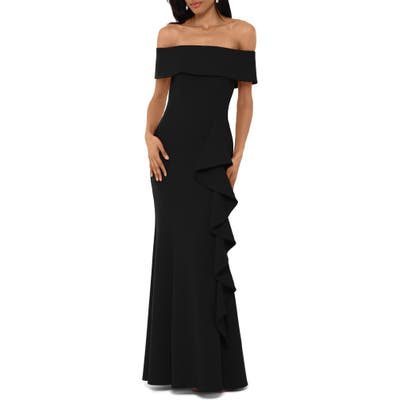 Betsy & Adam Off The Shoulder Front Ruffle Scuba Crepe Gown, Black