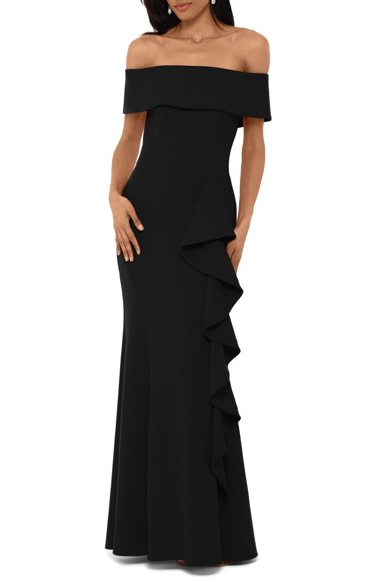 BETSY & ADAM Off the Shoulder Front Ruffle Scuba Crepe Gown, Main, color, BLACK