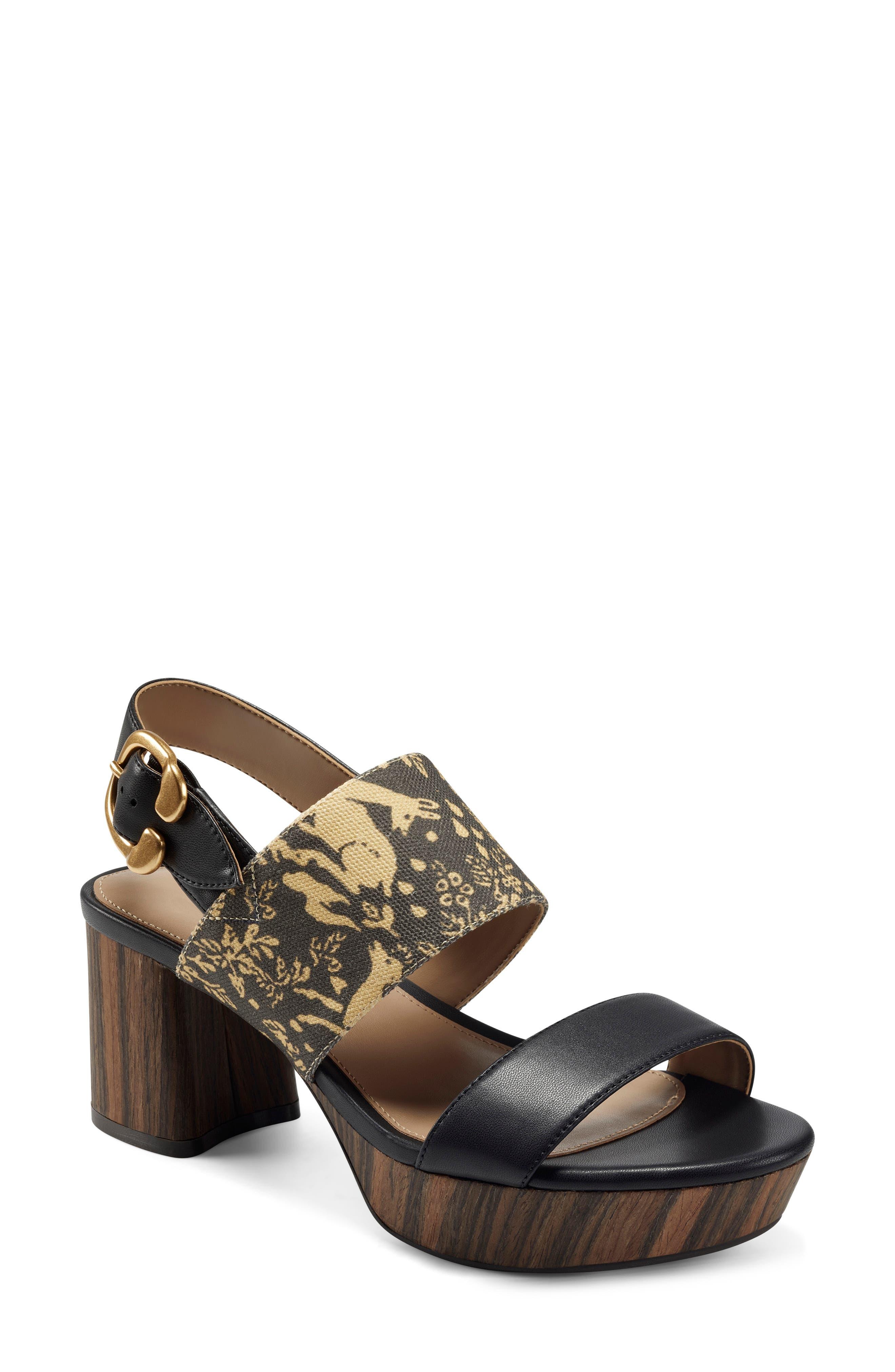 X Laura Ashley Camera Block Heel Platform Sandal