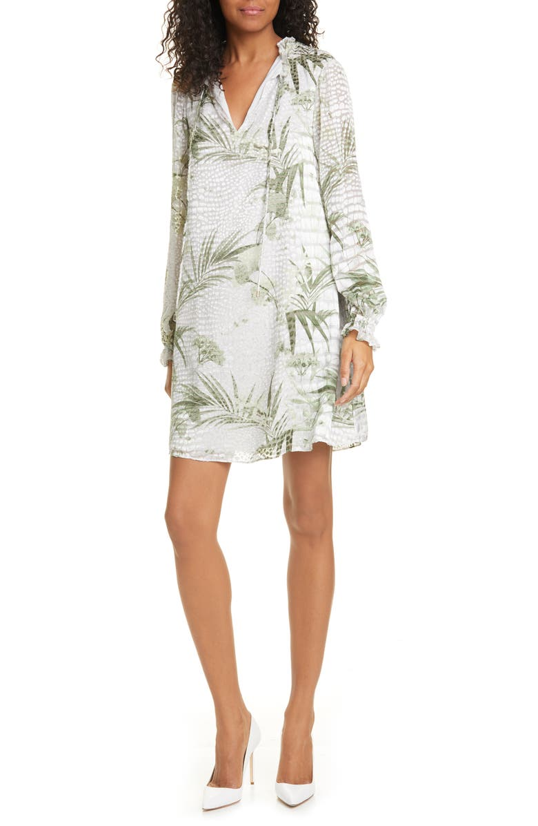 TED BAKER LONDON Glimmah Highland Floral Long Sleeve Shift Dress, Main, color, 030
