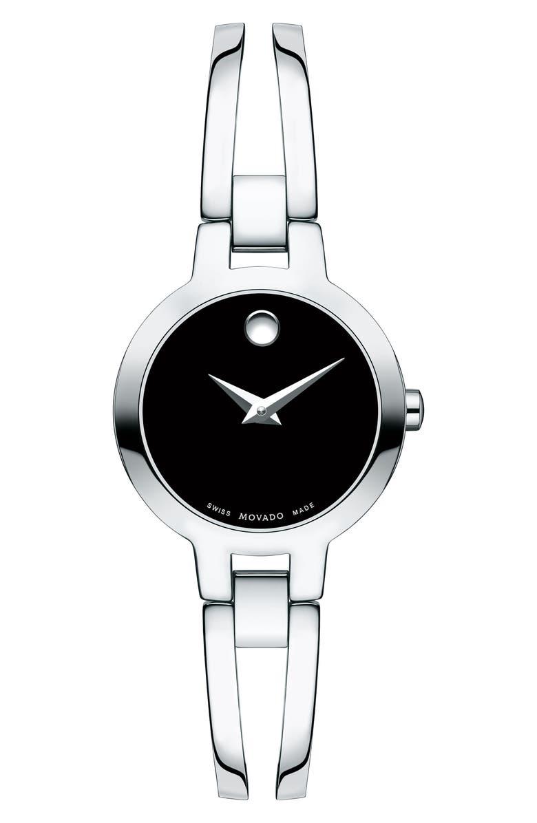 MOVADO Amorosa Bangle Watch, 24mm, Main, color, SILVER/ BLACK/ SILVER