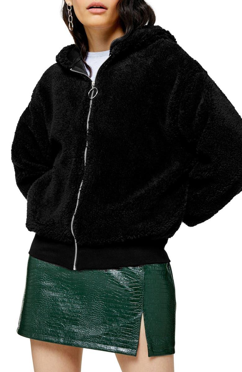 TOPSHOP Borg Zip Hooded Sweatshirt, Main, color, BLACK