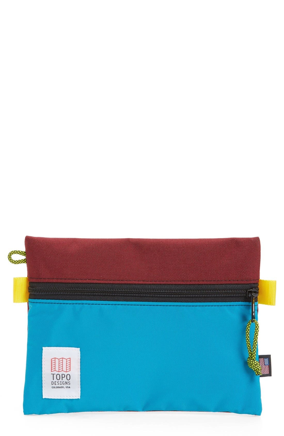 TopoDesigns Accessory Bag, Main, color, BURGUNDY/ TURQUOISE