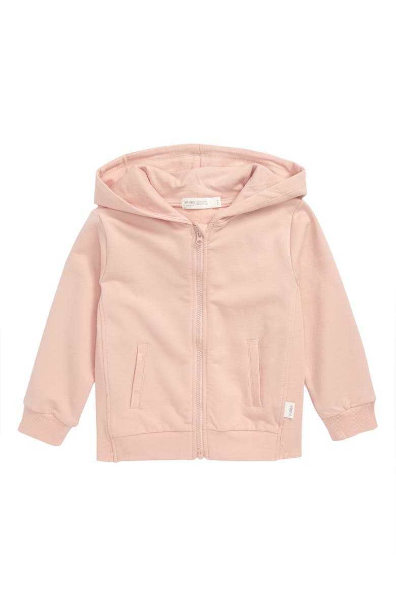 MILES baby Organic Cotton Hoodie, Main, color, LIGHT PINK