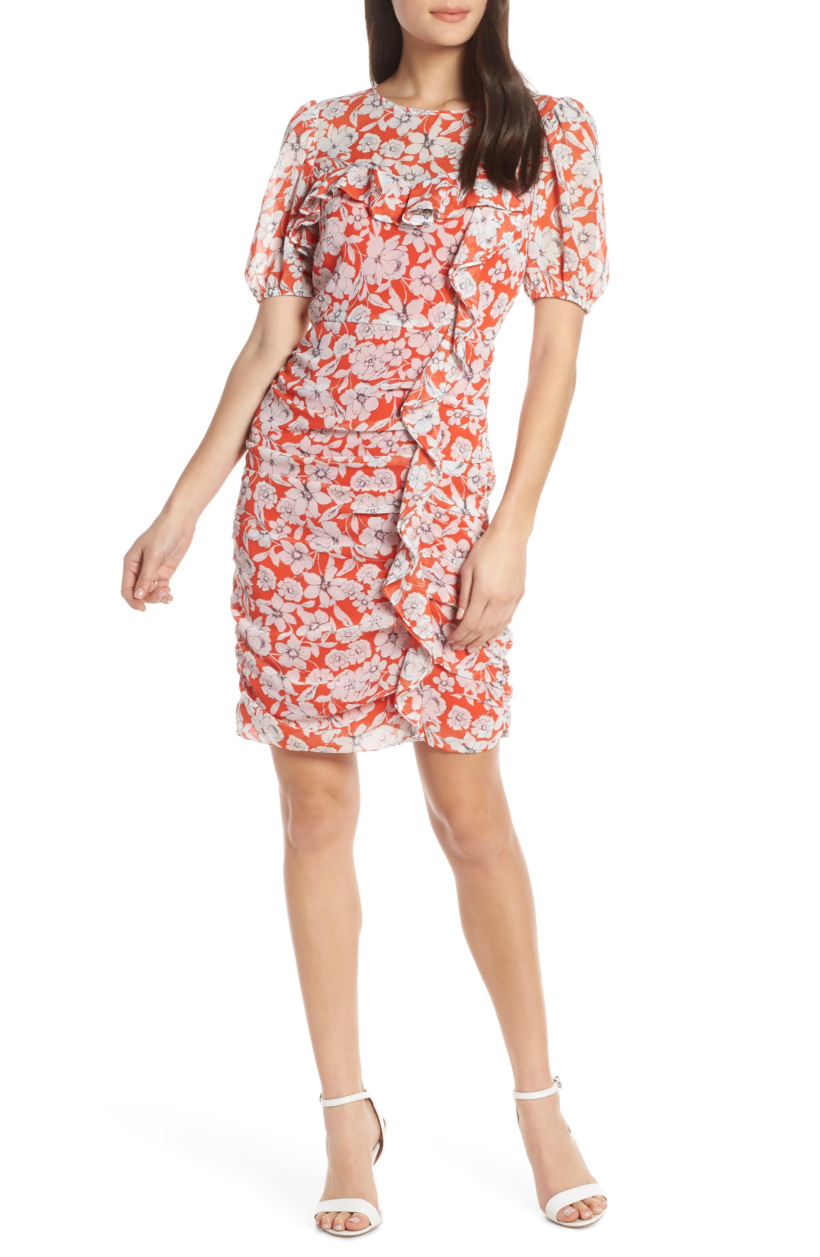 Petite Chelsea28 Floral Print Ruched Sheath Dress, Orange