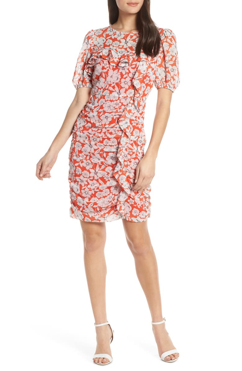 CHELSEA28 Floral Print Ruched Sheath Dress, Main, color, 820
