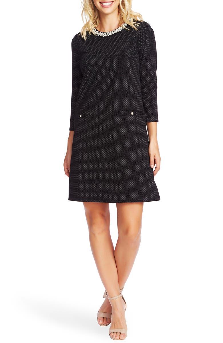 CECE Pindot Ponte Shift Dress, Main, color, RICH BLACK