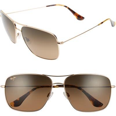 Maui Jim Cook Pines 6m Polarized Titanium Aviator Sunglasses - Gold/ Bronze