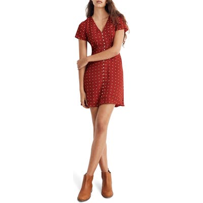 Madewell Grid Dot Button Front Swing Dress, Red