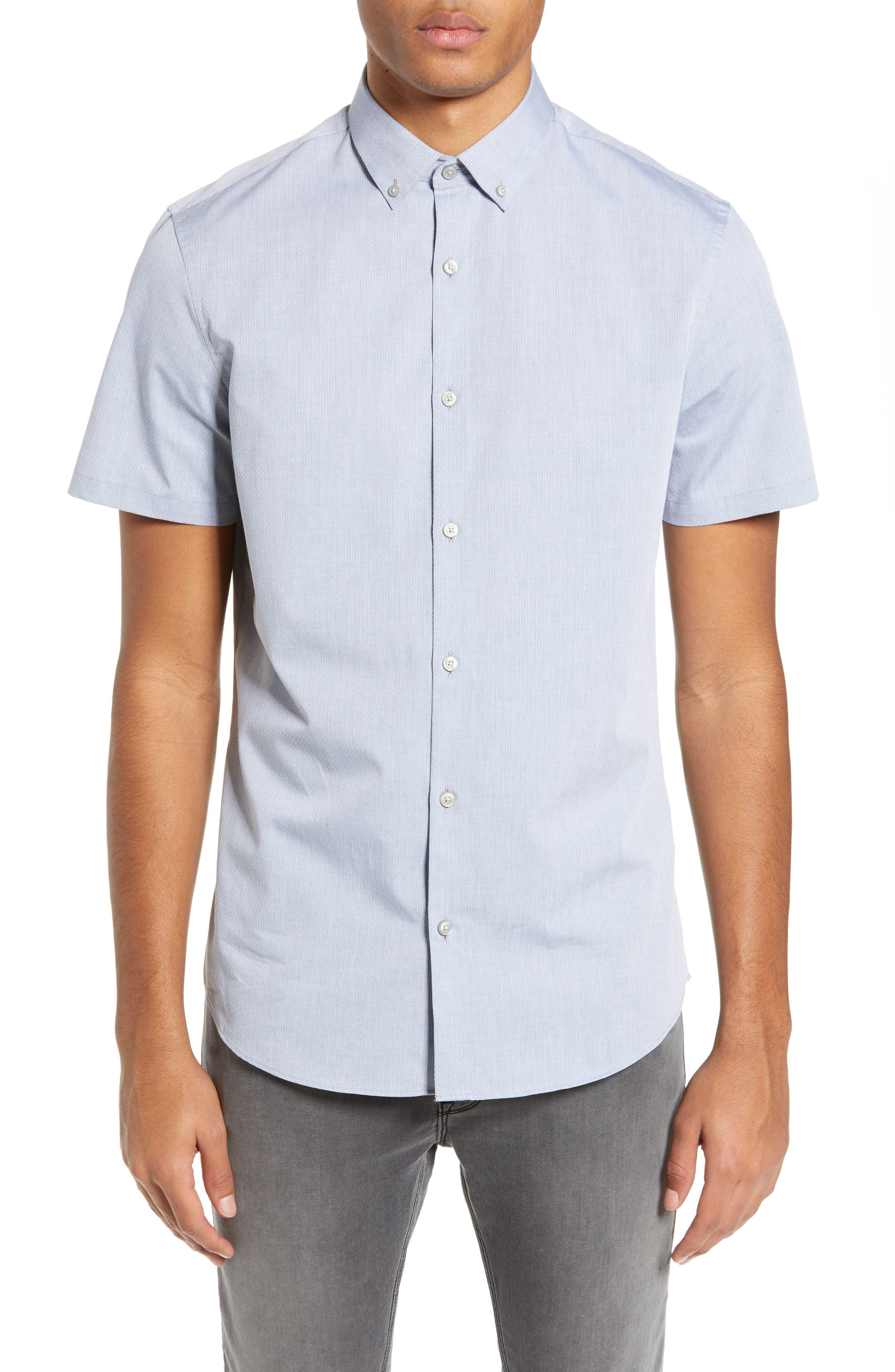 Calibrate Mini Collar Dobby Slim Fit Sport Shirt, Blue