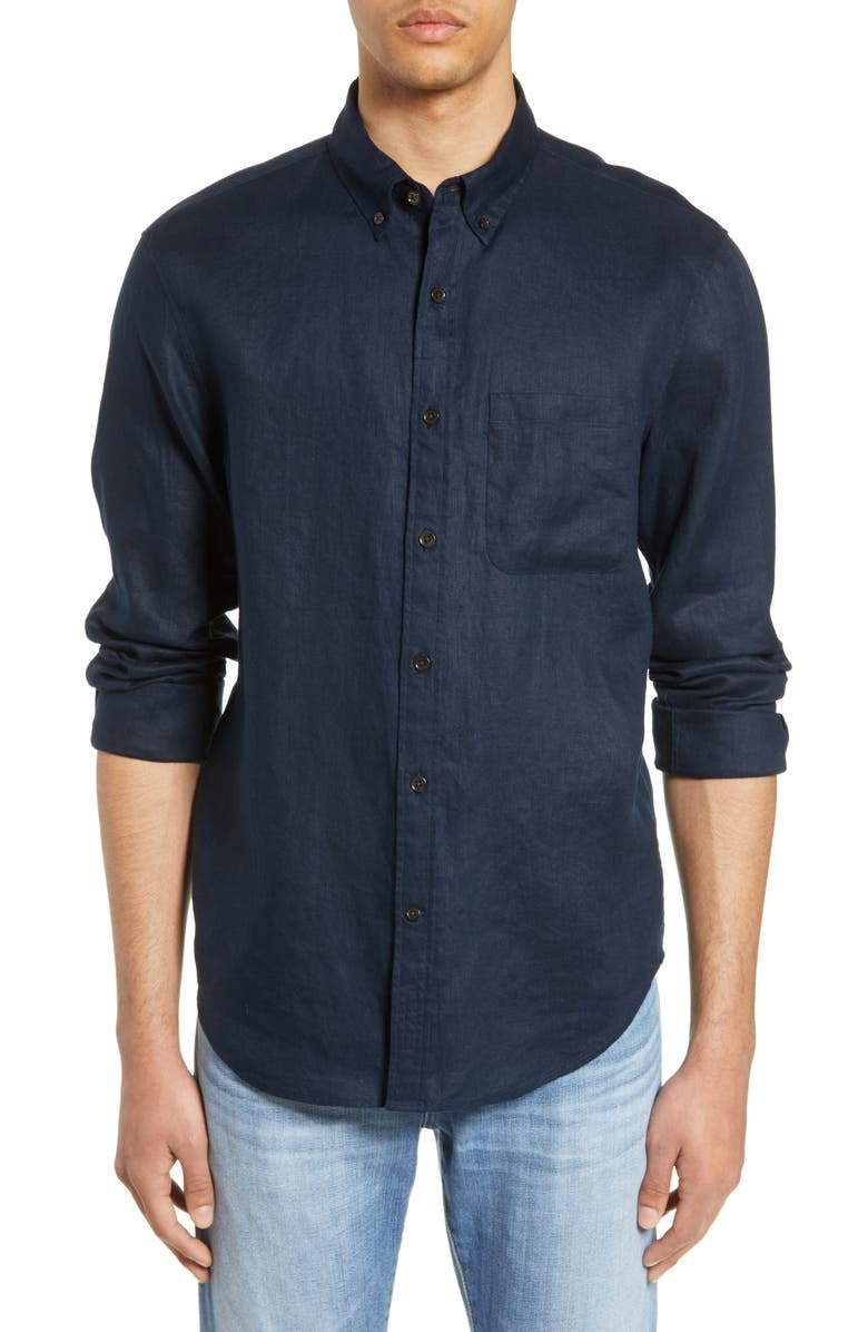 CLUB MONACO Solid Linen Slim Fit Sport Shirt, Main, color, 410