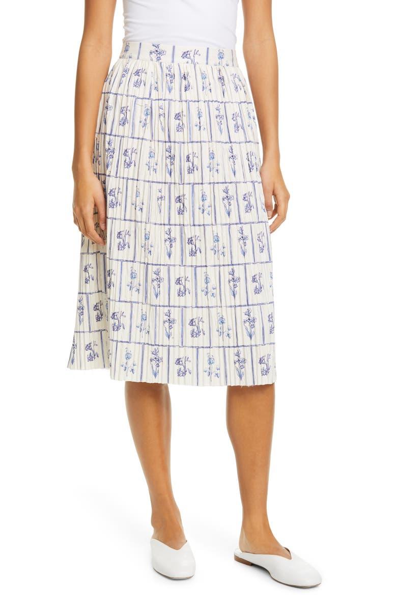 KHAITE Floral Print Gathered Skirt, Main, color, FLORAL TILE