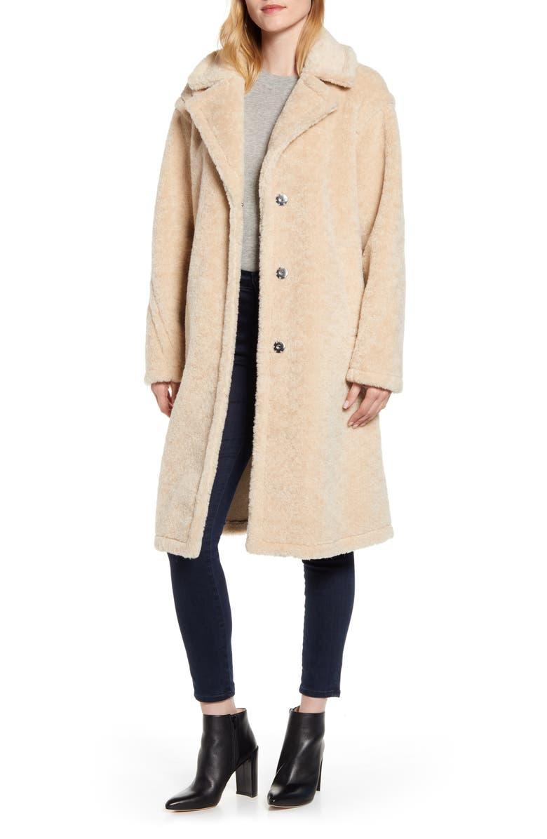 DEREK LAM 10 CROSBY Genuine Shearling Coat, Main, color, LIGHT BEIGE