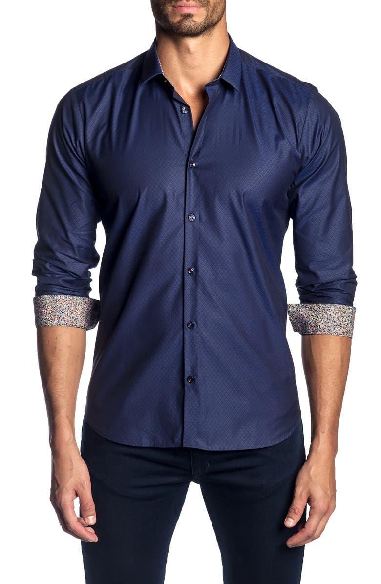 JARED LANG Slim Fit Jacquard Sport Shirt, Main, color, 410