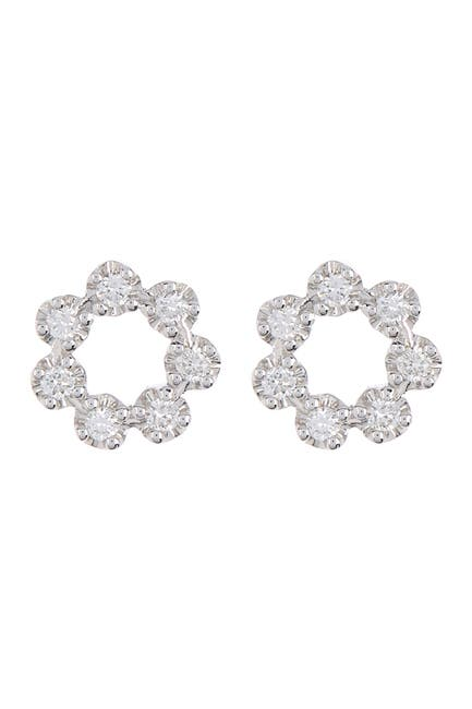 Image of Bony Levy 18K White Gold Mila Diamond Circle Stud Earrings